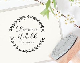 Tampon mariage personnalisé - Modèle 167