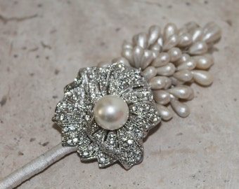 Wedding boutonniere, Groom Boutonniere,Crystal Brooch Boutonniere, Pearls Groom Broach Boutonniere,Flower Groom Boutonniere
