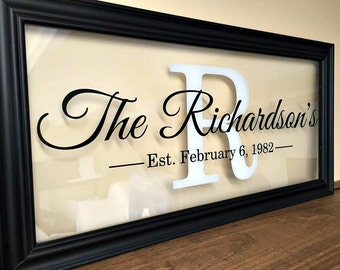 Womens Gift Personalized Womens Family Established Sign Wall Art Custom Name Sign Last Name Sign Personalized Couple Grandparents, A113