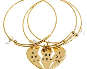 HYBX3068 HYBX3069 Gold and Silver Heart Pendant Best Bitches Bangle 3pc set with CZ stone Gift box packing