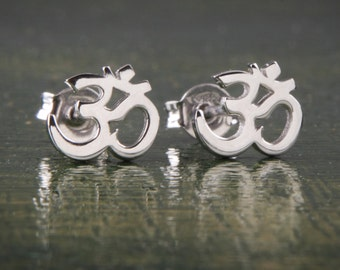 Om Earrings, Yoga Earrings, Silver Yoga, Silver Studs,9k Om Earrings, Solid Gold Om Earrings