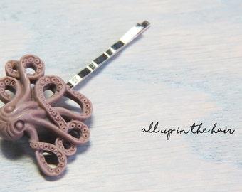 Brown Octopus Bobby Pin