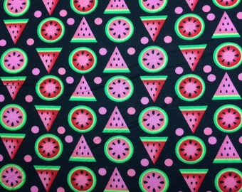Kanvas MAD FOR MELON (Wedges - Black) 100% Cotton Premium Fabric - sold by 1/2 yard