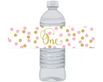 Pink and Gold Birthday Water Bottle Labels Birthday ONE, Instant Download Printable Water Bottle Labels, Digital JPEG PDF
