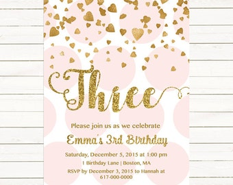 Pink and Gold 3rd Birthday Invitation Girl, Any Age Pink Gold Heart Confetti Girl Second Birthday, Third Polka Dot Printable Digital JPEG