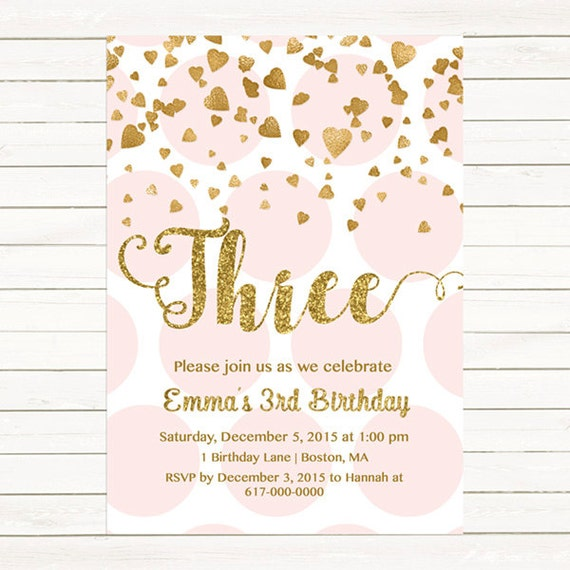 Pink and Gold 3rd Birthday Invitation Girl Any Age Pink Gold Heart
