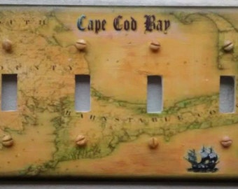 Vintage Nautical Cape Cod Map Light Switch Plate Covers/Select The Size