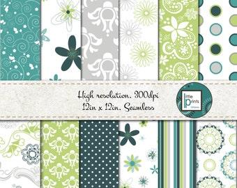 Digital Paper - Turquiose and Green Digital scrapbook paper, Floral digital paper, seamless digital paper, Circles and Dots, printable paper