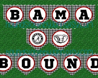 "University of Alabama ""BAMA BOUND"" Printable Banner! Black/white houndstooth with crimson trim, one-click to print!"