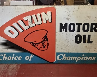 Rare Large 72 x 36 1950s Vintage Oilzum Choice of Champions Motor Oil Sign