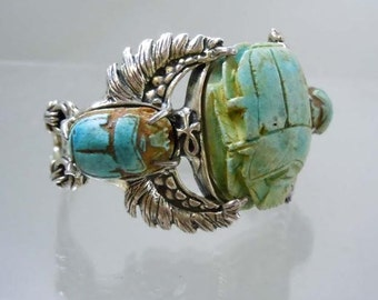 Antique Sterling Silver Turquoise Terracotta  Egyptian Revival Scarab Bracelet Cuff