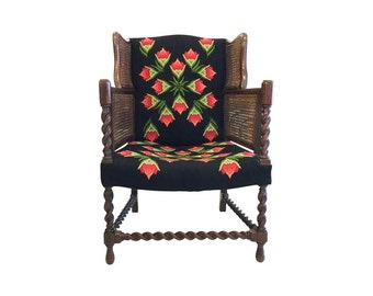 Antique Cane & Barley Twist Wingback Chair with Crosstitch.