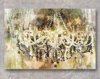 VINTAGE CRYSTAL CHANDELIER; Print on Canvas or Paper by Eric Yang