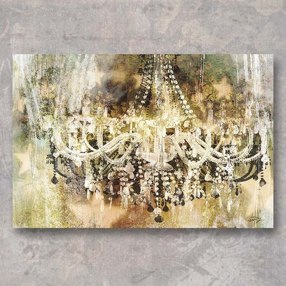 VINTAGE CRYSTAL CHANDELIER Print on Canvas or Paper by Eric