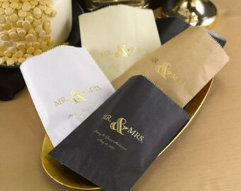 Mr. and Mrs. Wedding Favor Bags Personalized Treat Bags Cake Bags