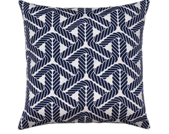 OUTDOOR Nautical Pillow, Nautical Throw Pillow Cover, Navy Blue Outdoor Pillow, Rope Print Pillow Cover, Beach Decor, Trellis Navy Pillow