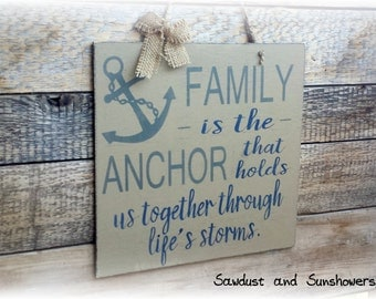 Nautical Wall Decor, Family Wood Sign, Anchor Decor, Anchor Sign, Country Home Decor, Handmade Sign, Rustic Wooden Sign, Hand Painted Sign