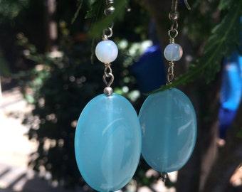 Sterling Silver Sky Blue Dangle Earrings