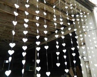 White heart paper garland, wedding decoration, photo backdrop