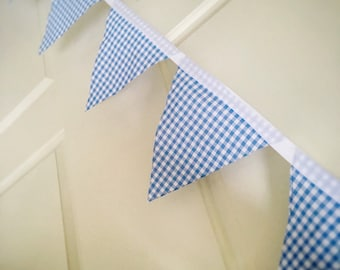 Fabric Bunting Gingham Check Nursery Decor Baby Boy Flags Shower Gift