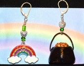 Rainbow & Pot of Gold Earrings on Sterling Silver Leverbacks, Free Association #1, Mismatched by Design, St. Patrick's Day, Irish