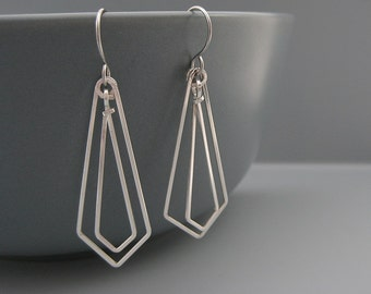 Art Deco Earrings - modern minimal architecture jewelry, minimalist silver geometric, lightweight arrowhead chevron shape - Linked Arrows Up