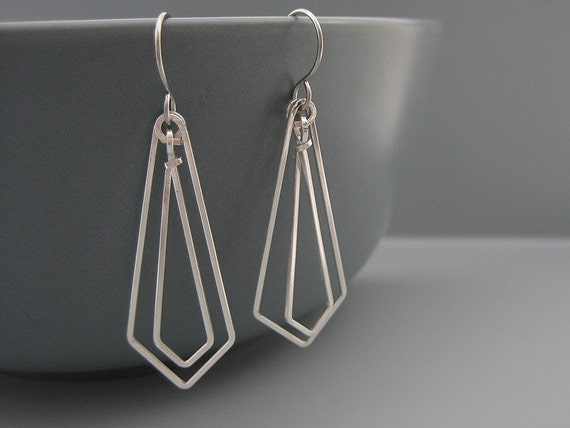 Art deco earrings modern minimal architecture jewelry for Minimal art jewelry