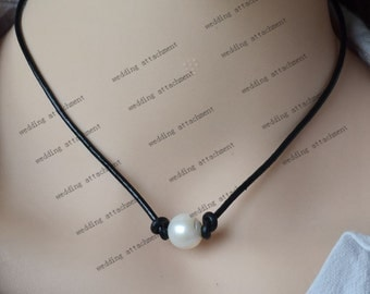 pearl black leather necklace,single pearl necklace,10mm white freshwater pearl leather necklace,a real pearl leather choker jewelry