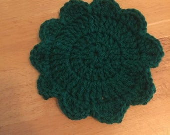 Candle Coaster Crocheted with flower petal edge
