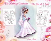 Wedding stamps, Set of 5 Digital Stamps, Wedding day, Proponsal, Wedding Flowers, Bride, Romantic, Stamp Sets. The  Wedding Collection.