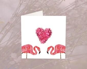 Flamingo Heart Valentines Card