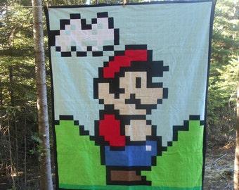 Mario Quilt, Blanket, Pixel, Super Mario Bros, Nintendo, Gamer, Mario, Super Mario 3, Bedding