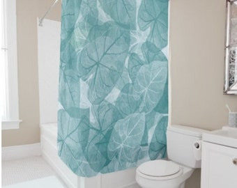"Shower Curtain - 'Scattered Leaves' - 71"" by 74"" Home, Decor, Bathroom, Bath, Dorm, Girl, Christmas, Gift, Leaves, Abstract,Boho, Nature"