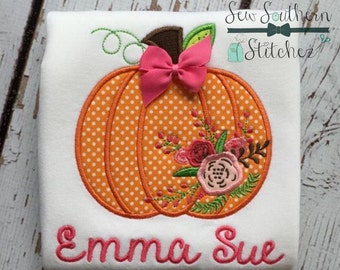 Floral Pumpkin Applique Design ~ Fall Pumpkin ~ Instant Download