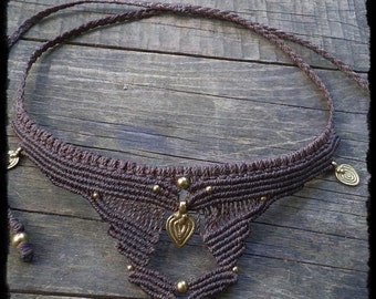 Tribal necklace with brass pendant
