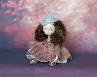 Girl - Octopus - 9 inches height - needle felted, artist made, OOAK