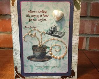 Jane Austen Cup of Tea greeting card