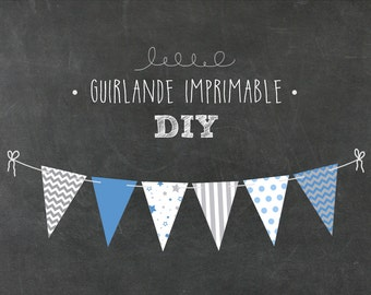 Garland IMPRIMABLE_bleu, white and gris_DIY, anniversary decoration, party boy, baby shower, decorating baby room