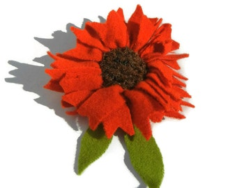 Brooch, Flower brooch, Felt Flower pin, felt flower brooch, Orange and Brown