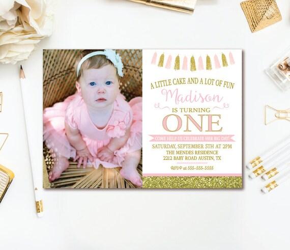 pink gold birthday party invitation tassel birthday invite