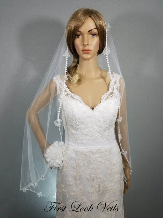 Lace Wedding Veil, White Bridal Veil, Bridal Fingertip Veil, Mini-Floral Lace Veil, Rhinestone Accent Veil, Wedding Vail, Bridal Accessory