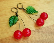 Cherry earrings, 40's inspired with red jade 'cherries' and pressed glass leaves.