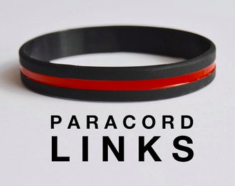 Thin Red Line - Black Silicone Bracelet