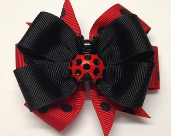 "Ladybug Red Black Polkadot 3"" Layered Boutique Hair Bow Alligator Clip"