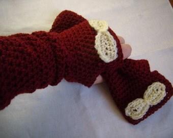 mittens crochet hand, Fingerless, gloves, crocheted by hand, Warmers, bordeaux/rust