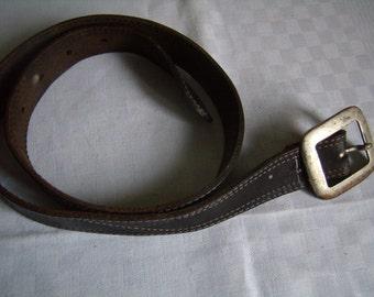 Belt leather black with large loop metal, retro belt, belt Jeans, Vintage