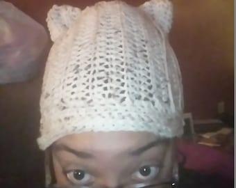 Cat Hat-adult, handmade, yarn, crochet