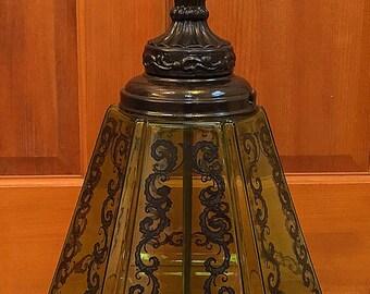 Green Glass Paneled Lamp Mid Century Hollywood Regency Vintage EF Industries 1970s Black Scrolls