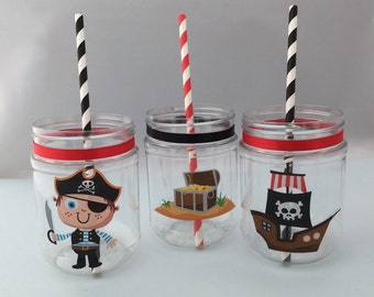 Cute Pirate Party Supplies: Pirate Plastic Mason Jar Drink Cup or Pirate Treat jar with or without lid
