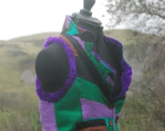 Recycled Woman's Waistcoat, Made from Warm Wool, Felt & Faux Fur